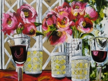 Peonies, Candles & Red Wine