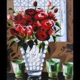 Red Roses in a Window